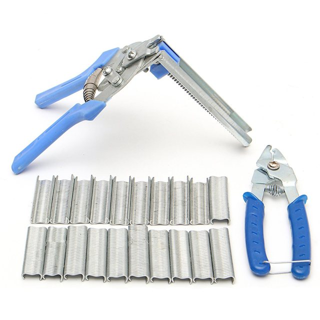 600 x Clips + Cage clamp Poultry Hog Ring Plier Tool Bird Chicken ...
