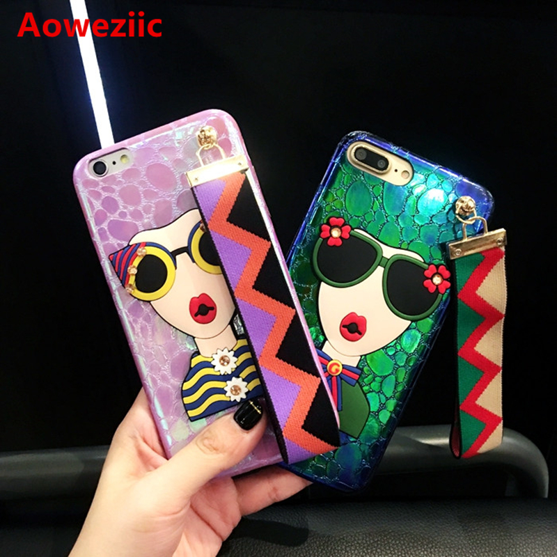Aoweziic South Korea Guochao brand For iphone7 mobile phone shell 8 X hand rope net red diamond goddess 6S personality 7Plus
