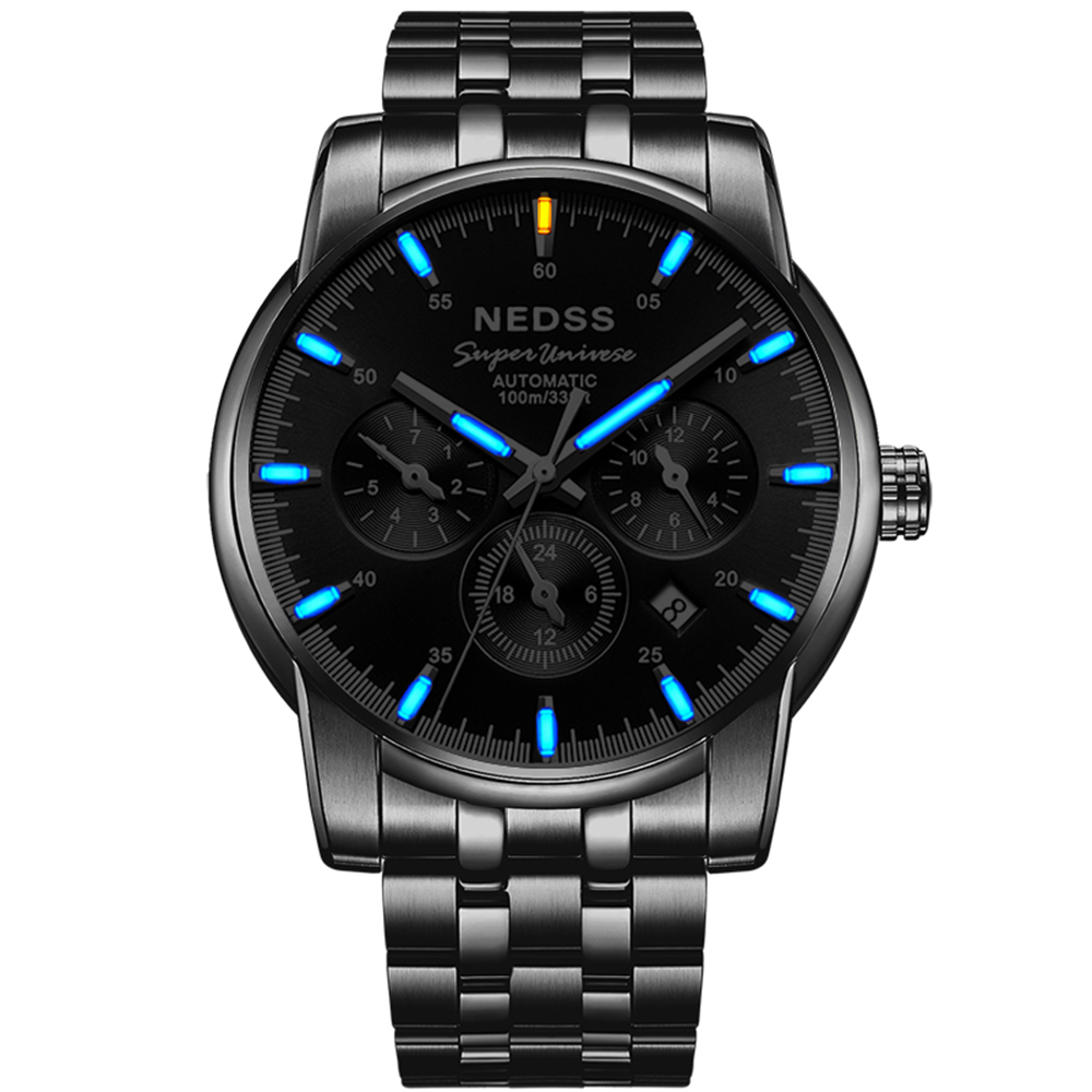 NEDSS Swiss H3 Men Tritium Mechanical Watches Chronograph Automatic watch month Week Display Luminous 100M waterproof clock yelang v1015 upgrade version khaki number tritium gas yellow luminous men automatic mechanical business watch steel watchband