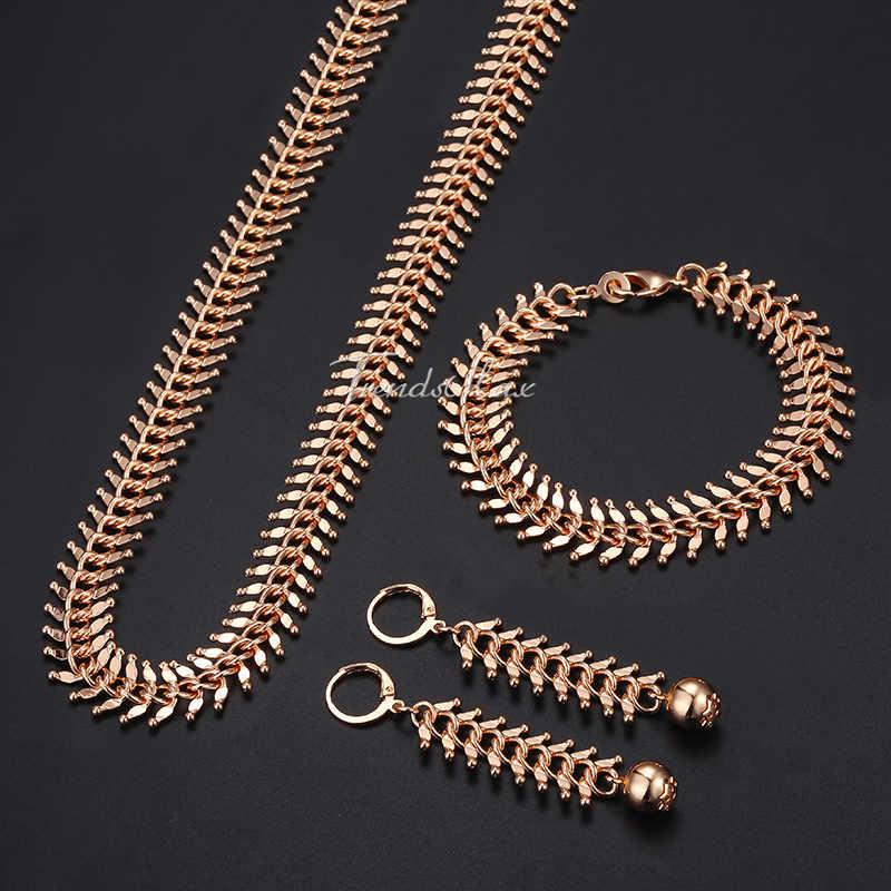 """585 רוז זהב תכשיטים לנשים נדלים קישור שרשרת שרשרת צמיד עגילי אישה מתנות 2018 Dropshipping 10/14 מ""""מ HCSM01"""