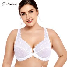 b083142152 Delimira Women s Plus Size Full Coverage Support Unlined Embroidered Front  Close Underwired Lace Bra(China