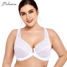 Delimira kobiet Plus rozmiar pełne pokrycie wsparcie bez podszewki haftowane przodu blisko fiszbiny koronki biustonosz
