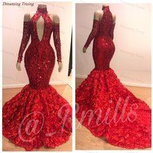 5c6c85799a0987f Гламурная Дубай красный блестками русалка платье на выпускной с 3D роза  цветы поезд африканского черного девушки платья для выпу.