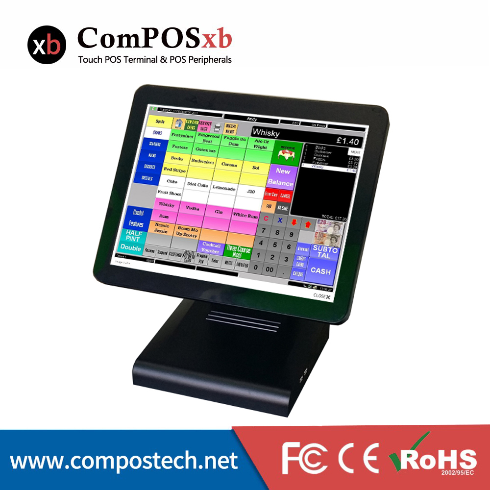Cheap 15 Inch All In One Touch Screen Pos Pc Cash Register Terminal 6 PCS Point Of Sale Quad Core Fanless Pos Machine free software 12 15 all in one touch screen android desktop pos terminal restaurant pos machine cheap pos sytem