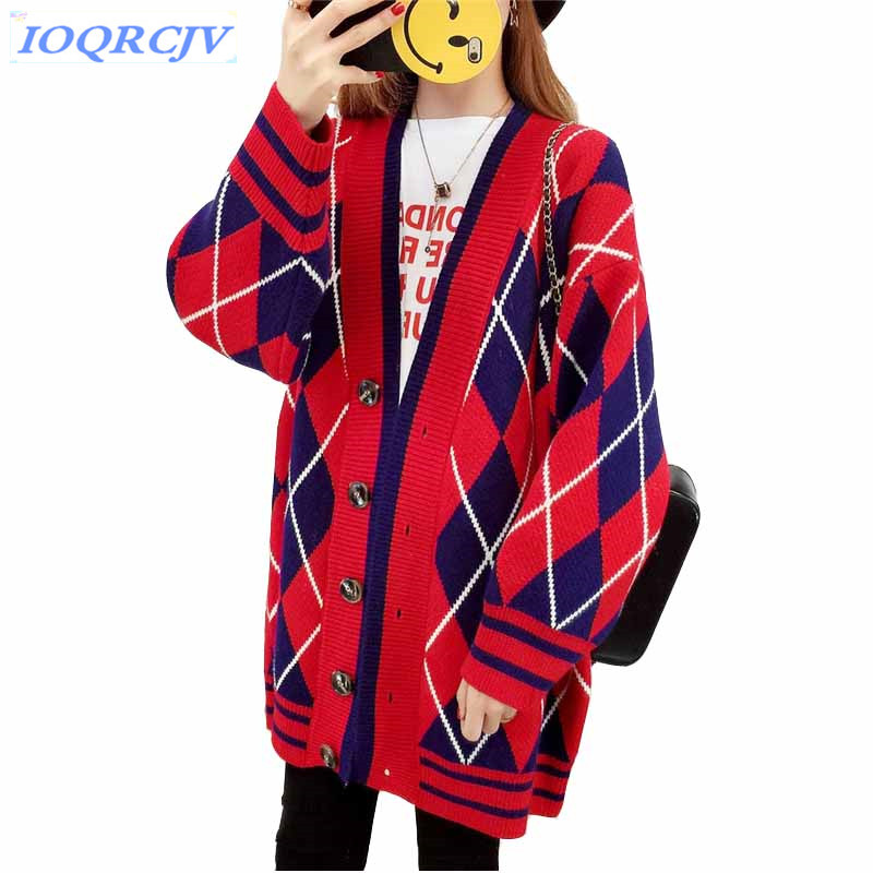 Knit sweater cardigan womens 2018 Spring and autumn Large size Loose Lantern sleeve Sweater coat female Plaid tops IOQRCJV N113