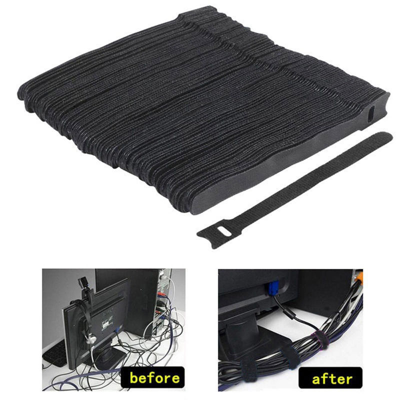 Mayitr 50Pcs 1.2X15CM Reusable Cable Nylon Strap Black Cable Cord Hook And Loop Ties Tidy Organiser For Cable Winder