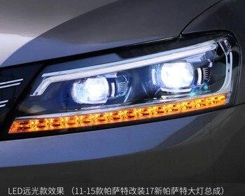 2 ADET LED Farlar vw Passat 2011-2016 Araba Led Işıkları Çift Xenon Lens Araba Aksesuarları Gündüz Çalışan ışıkları Sis Lambası