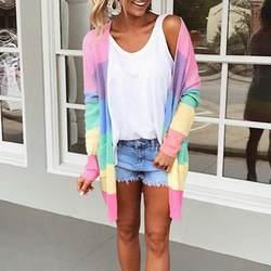 2018 осень дамская свитер с длинными рукавами в стиле пэчворк трикотажные открыть спереди в радужную полоску пальто кардиган дамская свитер