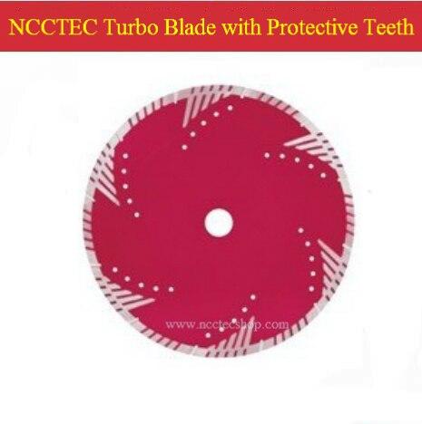 Lame de scie turbo diamant 9 ''NCCTEC avec dents de protection (5 pièces par paquet) | lame de coupe en marbre granit sec 230mm