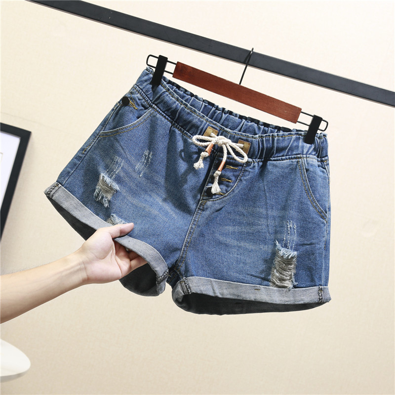 Summer big yards fat mm hole bull-puncher knickers female han edition jins of tall waist loose thin wide-legged hot G