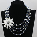 Fantastic Black Freshwater Pearl Necklace Shell Flower Pendant Wedding Jewelry for Women 2017 Party Jewelry Free Shipping FP164