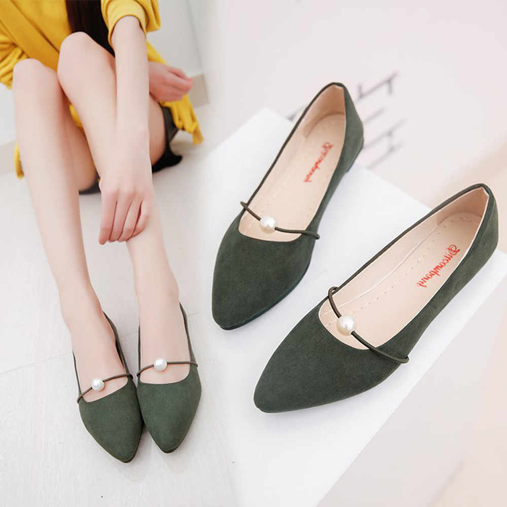 Frauen Feste Farbe Wildleder Flache Ferse Perle Flache Ferse Spitz Casual Schuhe frauen sandalen flache beiläufige sommer sandalen frauen