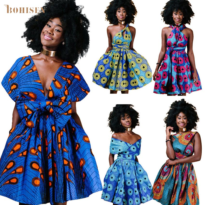 BOHISEN Dashiki African Dresses For Women African Print Short Sleeve Ankara Female African Clothes With Mutil-Wearing Methods