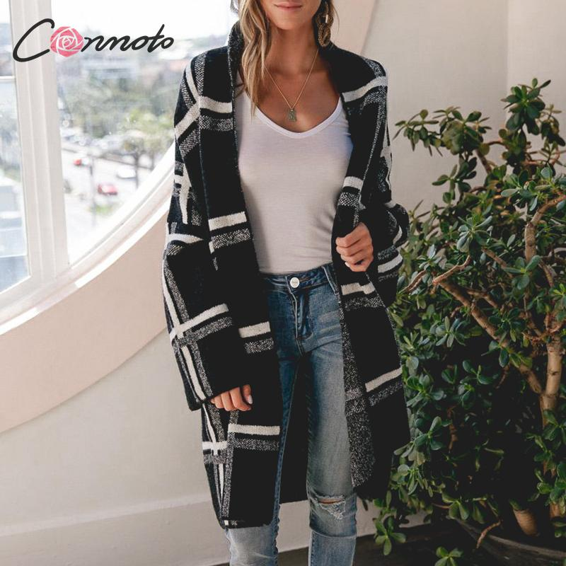Conmoto Women Sweaters Cardigan Fashion Black Plaid Long Sleeves Sweater Casual High Street Knitted Jacket Female Chic Long Coat in Cardigans from Women 39 s Clothing
