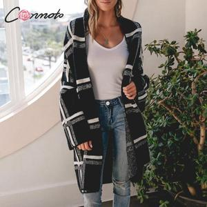 Image 1 - Conmoto Women Sweaters Cardigan Fashion Black Plaid Long Sleeves Sweater Casual High Street Knitted Jacket Female Chic Long Coat