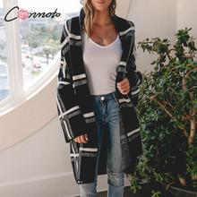 Conmoto 女性セーターカーディガンファッション黒のチェック柄長袖セーターカジュアルハイストリートニットジャケット女性シックなロングコート