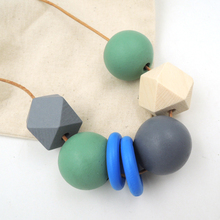 Wooden Necklace With Geometric Wood Beads