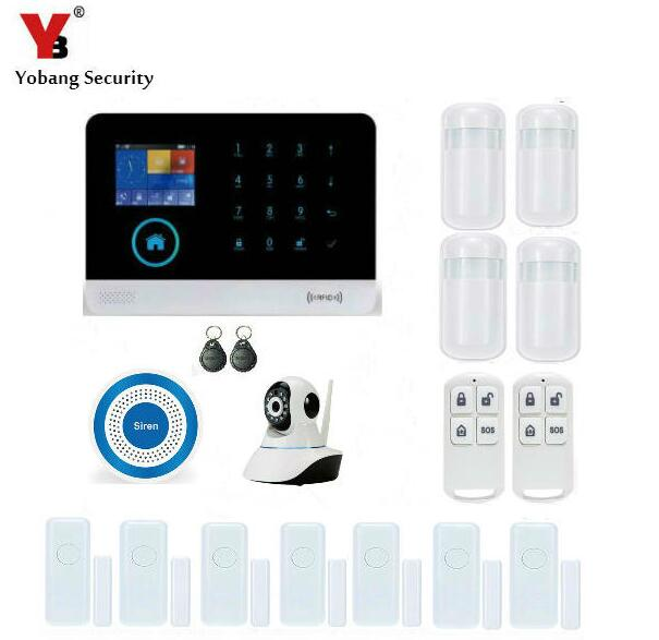 Yobang Security-APP Alarms Home Security System RFID WIFI GSM Alarma HD Network Camera Window/Door Sensor Blue Siren Alarm yobang security app smarts alarm system camera surveillance wireless door window magnetic sensor wifi gsm home security kits