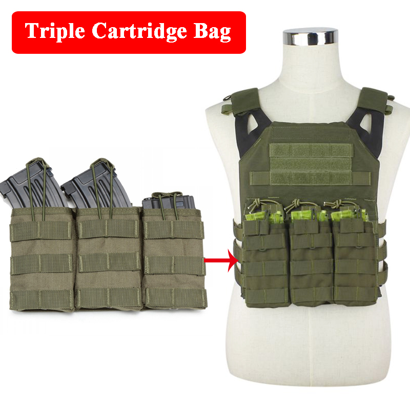 1000D Nylon Tactical Triple Cartridge Bag JPC Vest Accessories Bag Airsoft Sport War Game Paintball M4 AK Magazine Pouch
