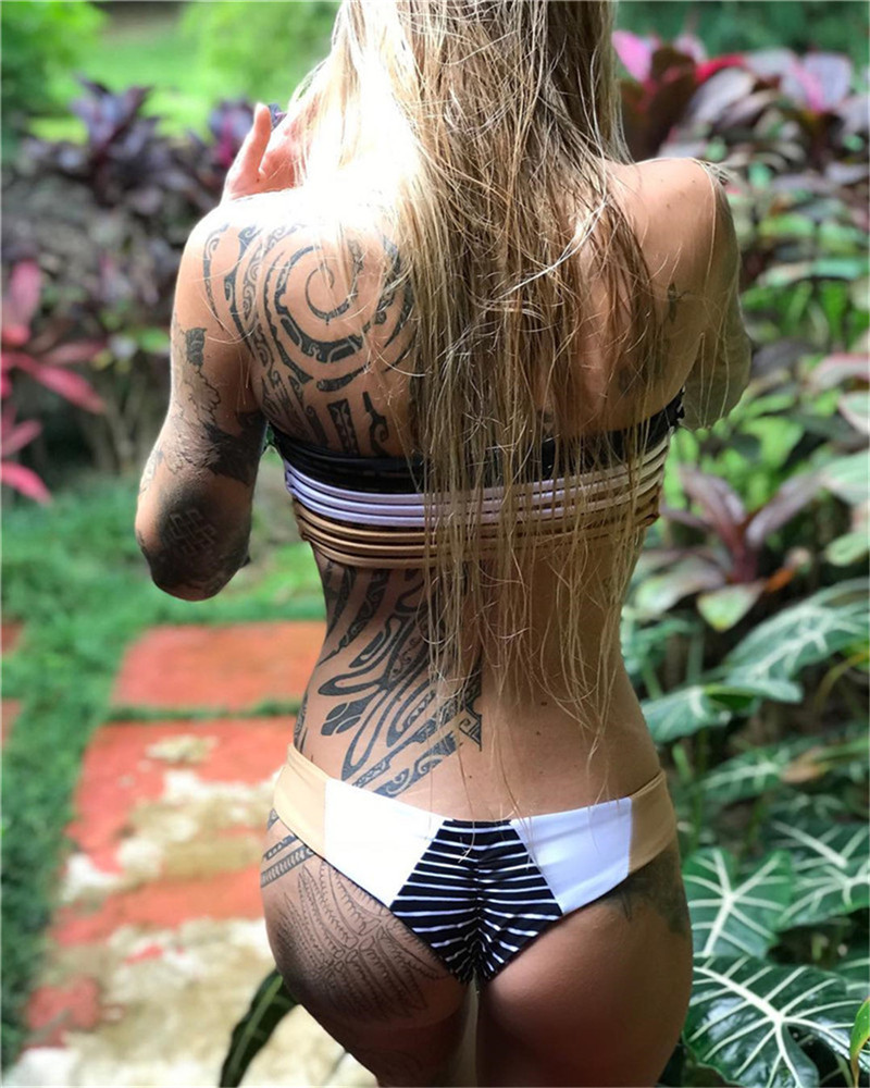 Trendy color block bikinis with straps in back 2