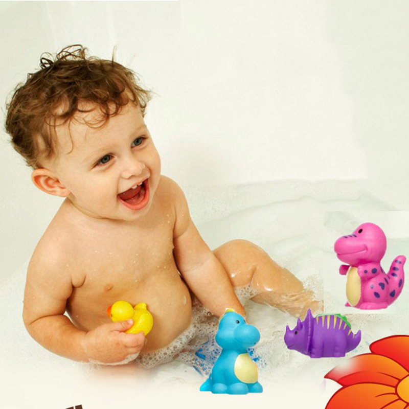 5pcs Lovely 5Pcs Dinosaur Baby Bath Toys 6Pcs Mixed Animals Colorful Soft Rubber Float Bathing Toy Swimming Pool Baby Toys