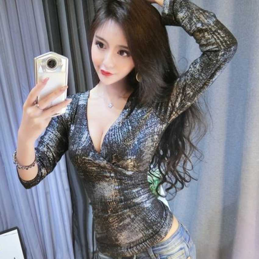 Korean Sexy V-Neck Tshirt Sequin 2019 New Spring Autumn Women Originality Long Sleeve T Shirts Tops Camiseta Mujer T93408