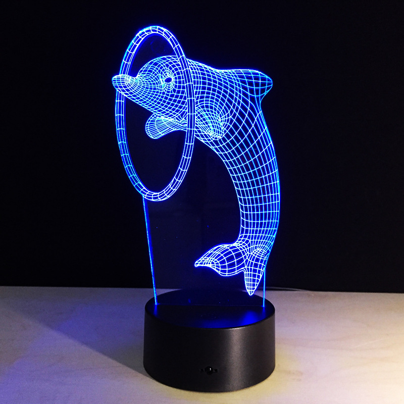 Remote control Luminarias Night Light 3D Lamp dolphins 3D Lights Children's night light Visual Led Illusion Mood Lamp keyshare dual bulb night vision led light kit for remote control drones