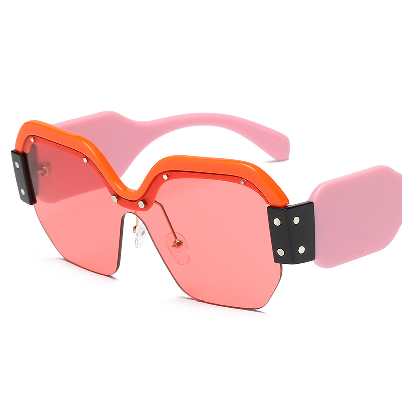 women female steampunk sunglasses oversized square sun glass Rimless pink designer shades googles cool eyewear Gafas de Sol