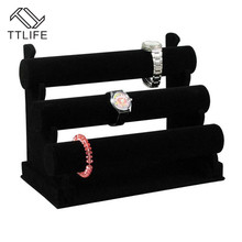 TTLIFE 3-Tier Black Jewelry Bracelet Watch Bangle Display Storage Holder Velvet/PU T-bar Ring Stand Rack Bracele Stand Showcase цена и фото