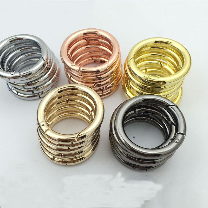 5pcs/lot Out Size 25mm 28mm Rose Gold/Gold/Bronze Key Chains With Spring Buckle (Never Fade) Split Ring Key Rings For Bag