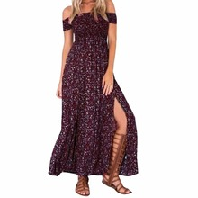 Women Summer Off Shoulder Party Dress Floral Front Split Beach Long Maxi Dresses