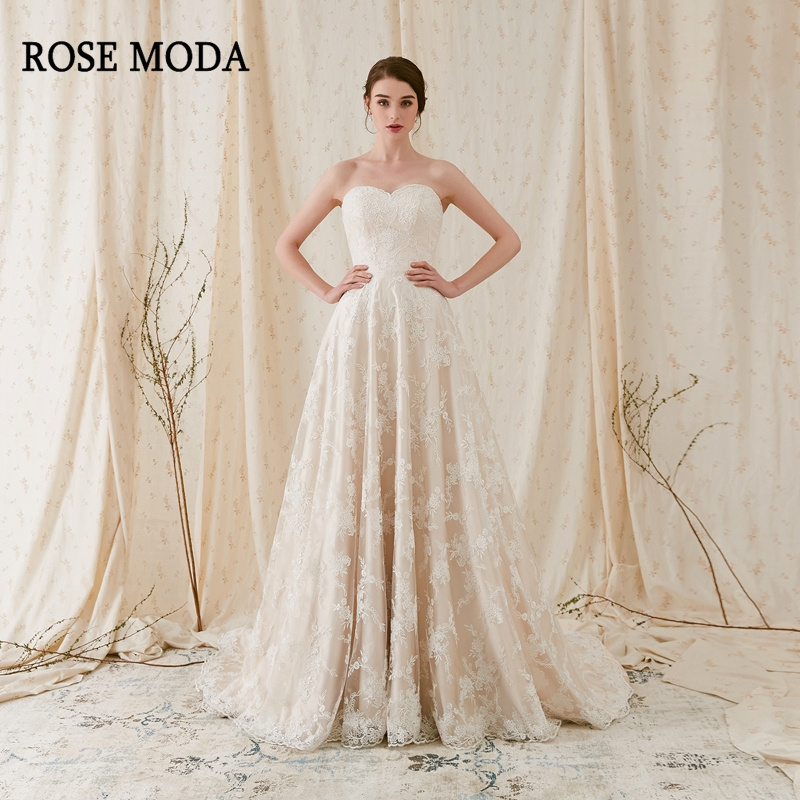 4c98c3a7a83a36 Rose Moda Elegant Chantilly Lace Wedding Dress Strapless Ivory over  Champagne A Line Wedding Dresses 2019