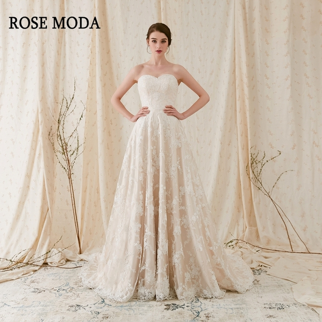 Rose Moda Elegant Chantilly Lace Wedding Dress Strapless Ivory Over