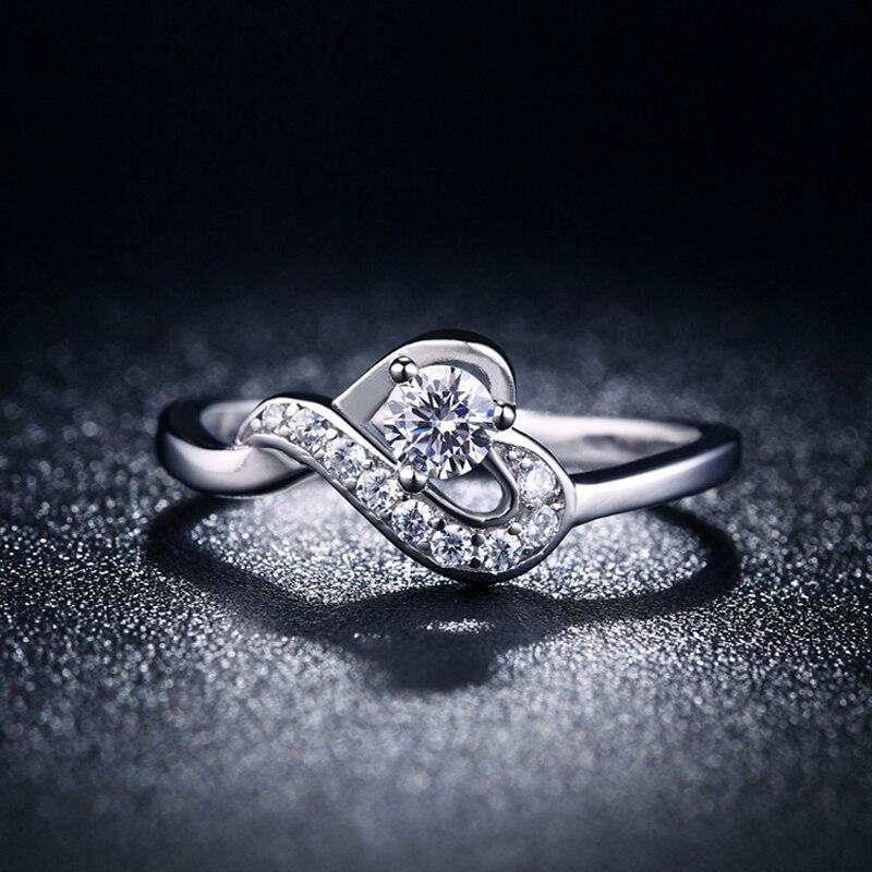 JEXXI Romantic Heart Shape Sterling Silver Jewelry Antique CZ Rhinestone Crystal Wedding Band Engagement Rings Women Bijoux