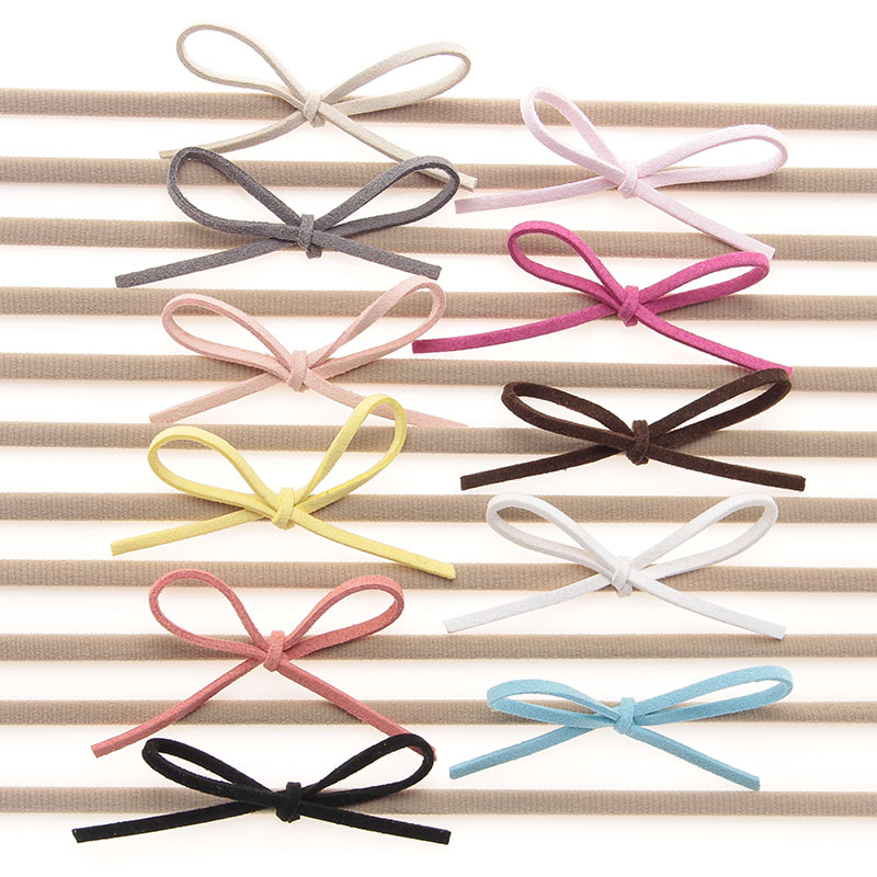10pcslot Fashion Nylon Headband Baby Girls Elastic Hairband Infant Toddler Suede Solid Bow Kids Head band Hair Accessories