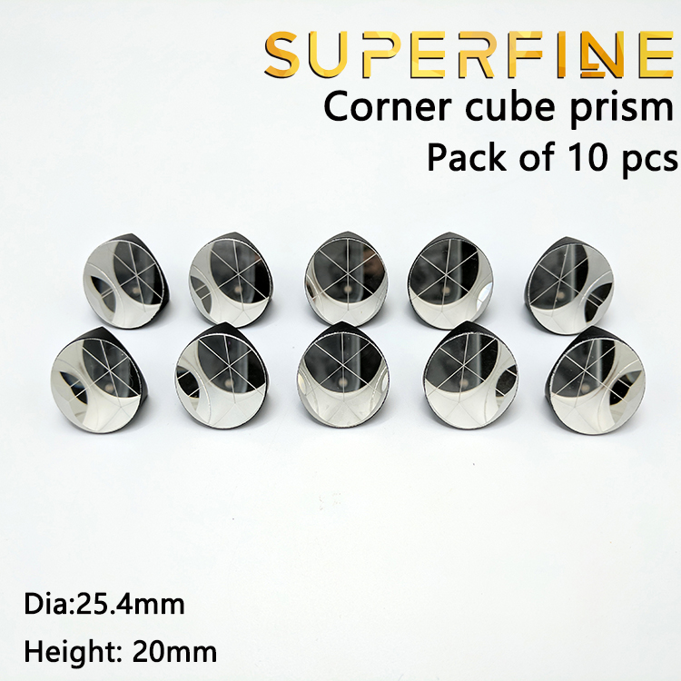 Pack of 10 pcs BK7 silver coated 1inch Corner Cube Prism Plated 25 4mm Trihedral Retroreflector
