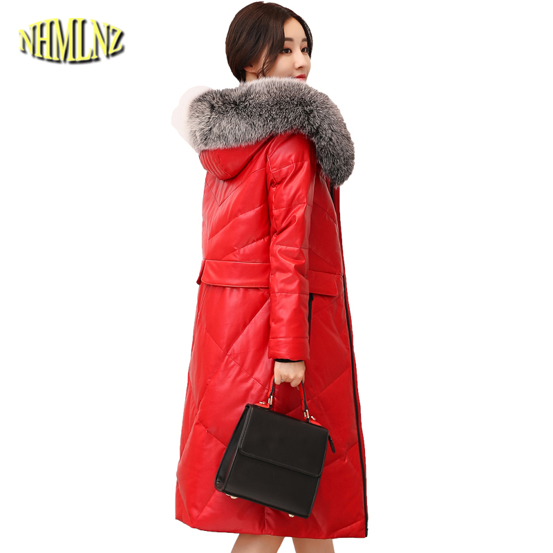 Large size 4XL Winter Leather   Down   Jacket Women 2019 Solid color Slim   Coats   Fox Fur collar Hooded Warm   Down     Coat   Female DAN369