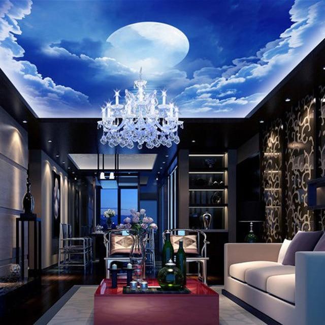 New Foto Langit Biru Wallpaper Latar Belakang Ruang Tamu Dinding Seni Dekorasi Kertas Mewah