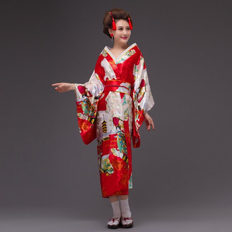Japanese Kimono Vintage Original Tradition Silk Yukata Dress stage performance costume Sakura Geisha Dress