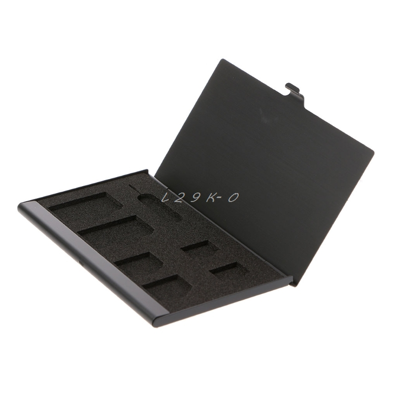 Monolayer Aluminum Alloy 1 Card Pin + 6 SIM Card Holder Protector Storage Box Case Black