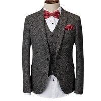 Loldeal (jacket+pants+vest) gray men suit male suit for wedding spring casual slim fit groom party dress business plaid suit