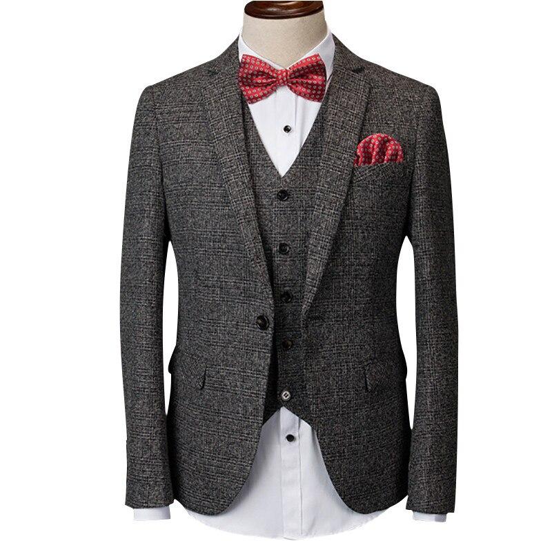 Loldeal (veste + pantalon + gilet) gris hommes costume masculin costume pour le mariage printemps casual slim fit marié parti robe d'affaires costume à carreaux