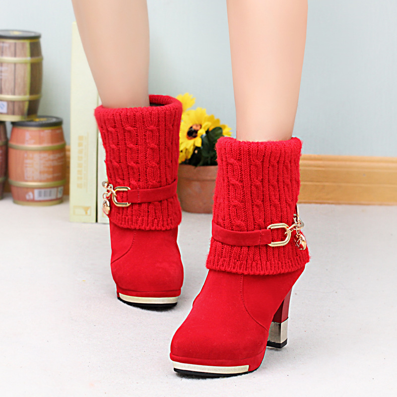 ZHENZHOU 2018 winter thick with women's boots high-heeled female boots frosted wool in the Martin boots women Women's shoes