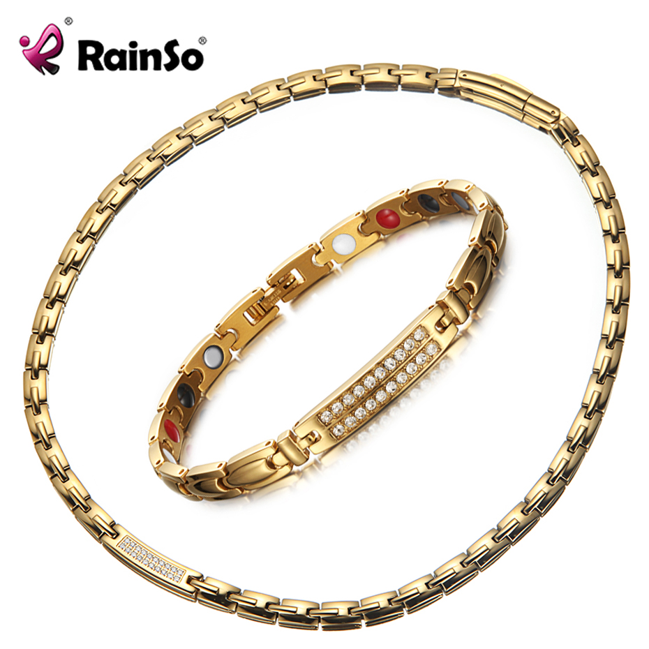 Rainso Magnetic Therapy Gold Jewelry <font><b>Set</b></font> Middle East Hematite Power Necklaces Healing <font><b>Bracelets</b></font> Healthy Jewellry for <font><b>Unisex</b></font> Lady image