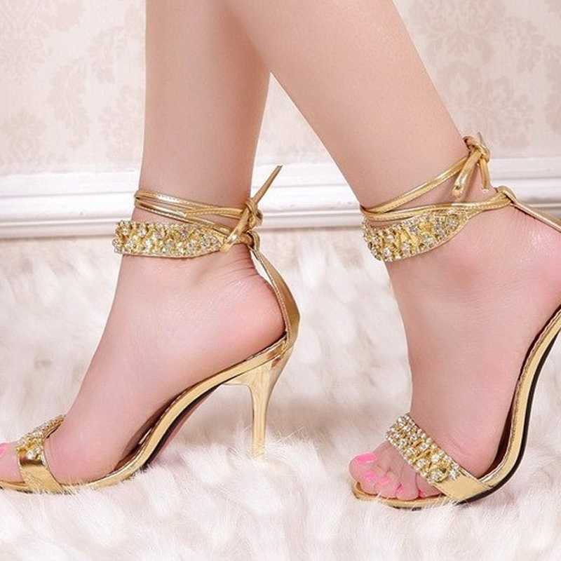 Sexy Silver High Heel Summer Shoes Fashion Lady Sandals Rhinestone ...