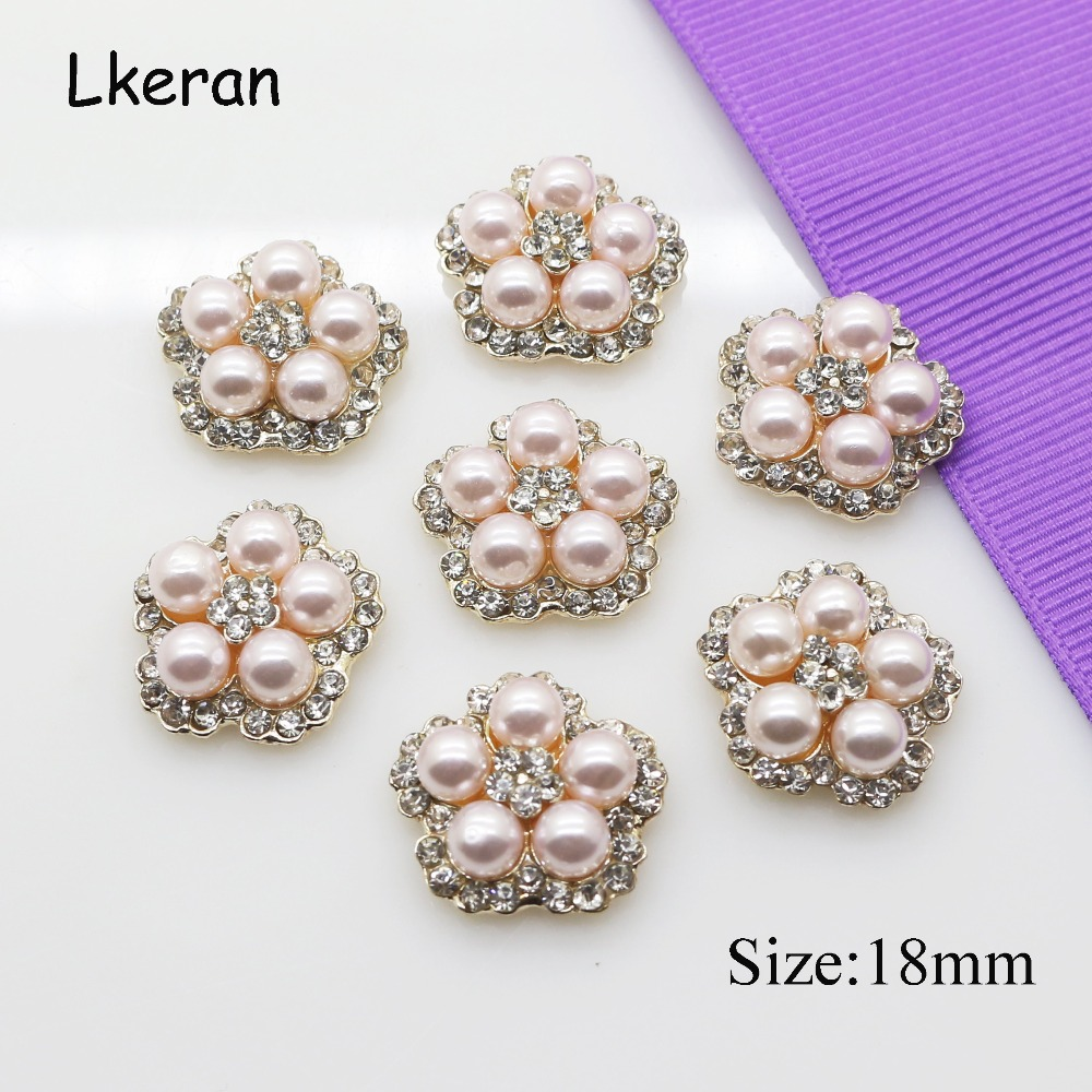 Wholesale 50 pcs 18 mm New Pink pearl crystal buttons flower center embellishment for DIY handmade flat back Rhinestone button image