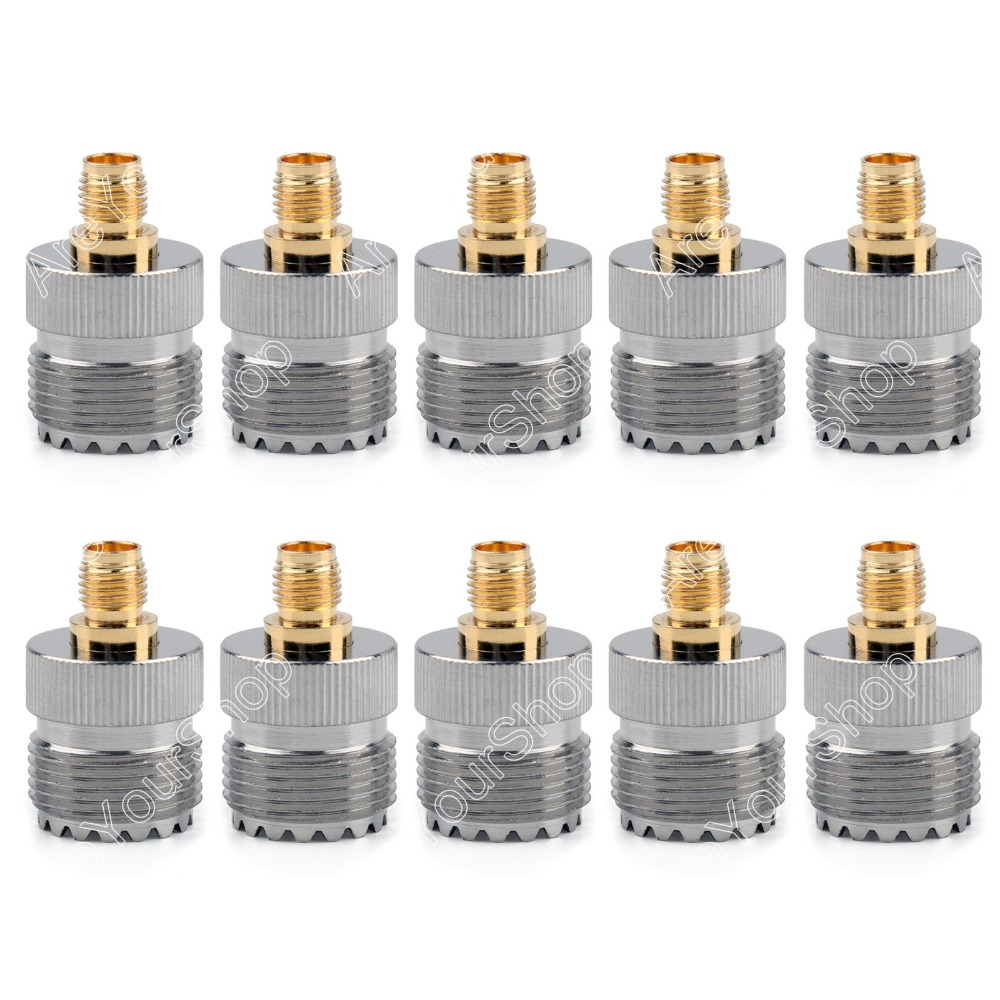 Areyourshop Sale 10 Pcs Adapter SO239 UHF Female Jack To SMA Female RF Connector Straight Gold Plating Nickel Plating PTFE areyourshop hot sale 10pcs adapter n jack female to sma male plug rf connector straight ptfe nickel plating gold plating