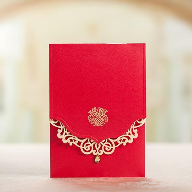 Modern Dragon Phoenix Chinese Wedding Invite Red