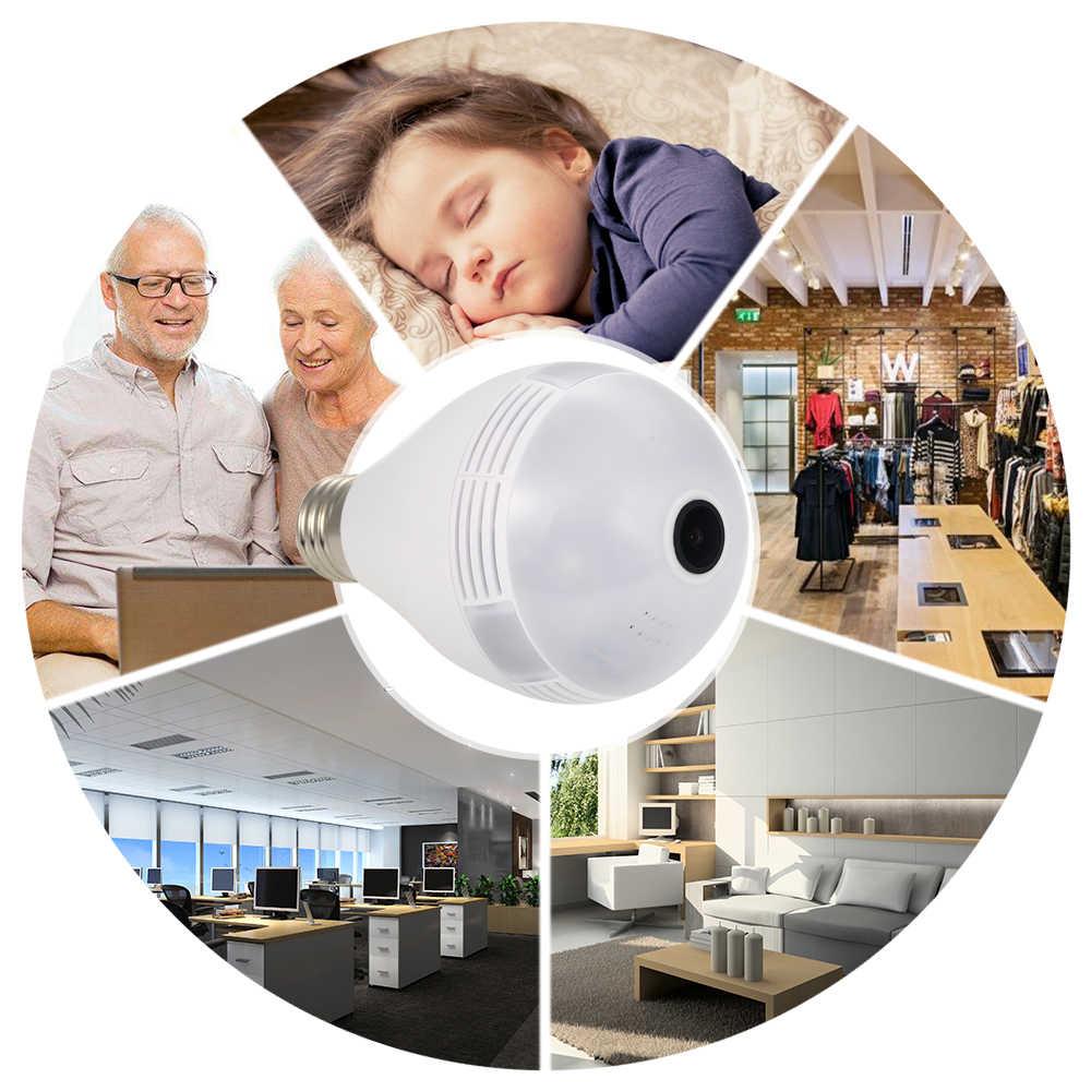 KKmoon 1080 P панорамная 3D VR IP Wifi камера лампочка световая камера рыбий глаз наблюдения мини камера 360 градусов CCTV для домашней безопасности