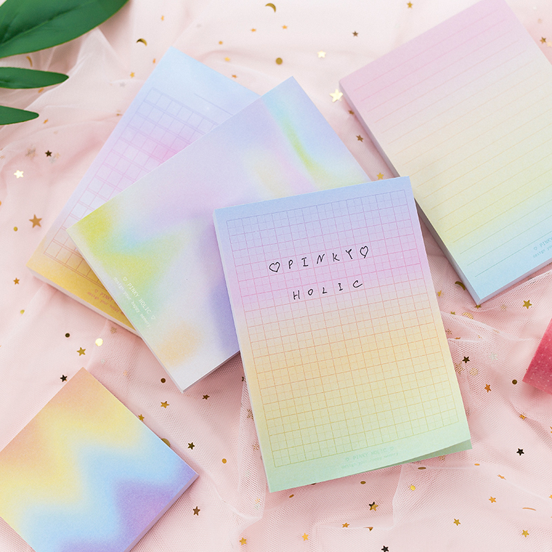 Rainbow halo color memo note pad 100 sheets Grid Line notebook guestbook Stationery Office accessories School supplies F337Rainbow halo color memo note pad 100 sheets Grid Line notebook guestbook Stationery Office accessories School supplies F337